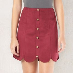 LC Lauren Conrad Scalloped Suede Skirt